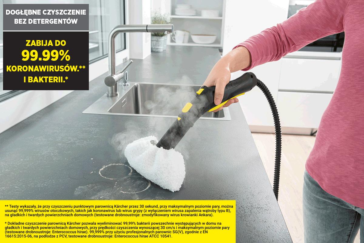 Parownica Karcher zabija 99.99% najczęściej występujących w domu bakterii!