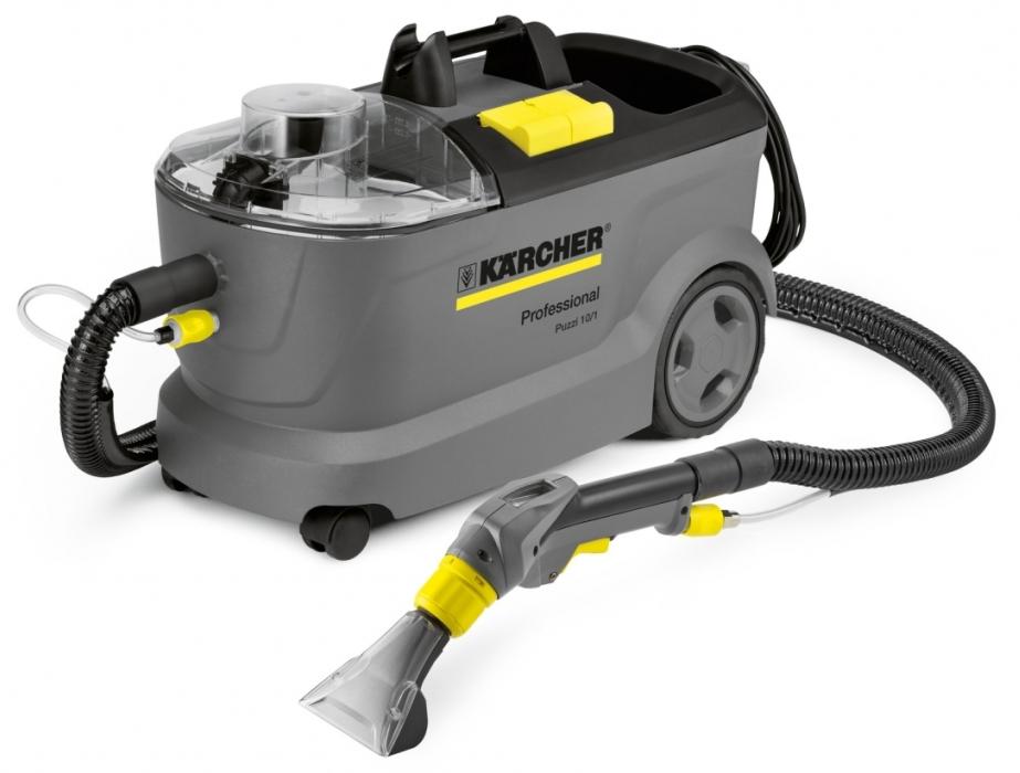 Profesjonalne urządzenie ekstrakcyjne Puzzi 10/1 firmy Karcher. Prezentowane w pozycji stojącej.
